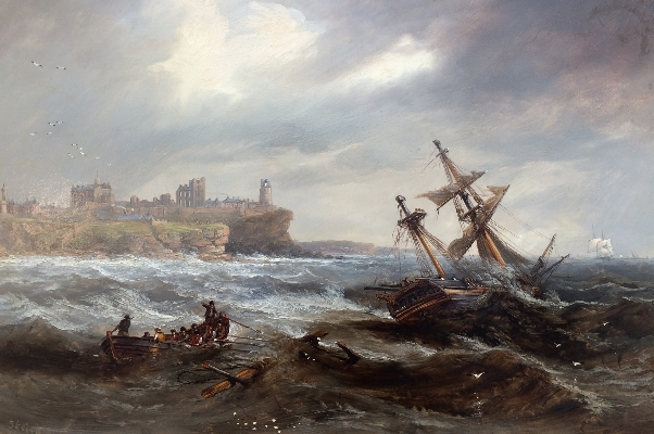 Salvaging a Wreck off Tynemouth.J.W.Carmichael.