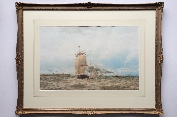 Shipping leaving River Tyne in a stiff breeze.Frame.WTN.Boyce