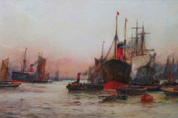 F.W.Scarbrough.Dawn on the Thames.