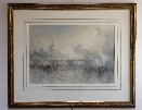 Steamboat and St.Paul's from the Thames.Frame.Frank Wasley.