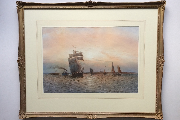 Shipping off the Mouth of the River Tyne at Sunset.Frame.W.T.N.Boyce