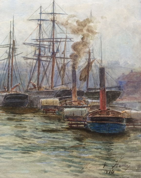 Thomas M. Hemy. Boats at Whitby. detail.