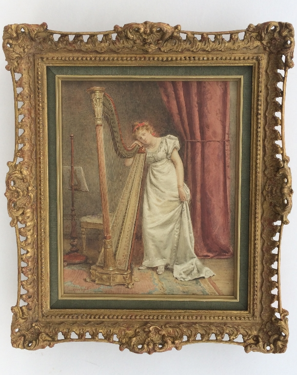 The Young Harpist.Frame.G.G.Kilburne.