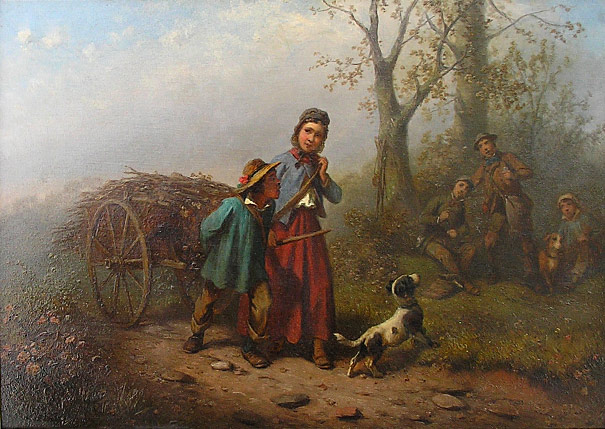 Ferdinand Marohn - Children Collecting Wood