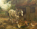 John Falconer Slater - Farm hourse with chickens