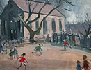 Norman Cornish - Village Square with children spennymore